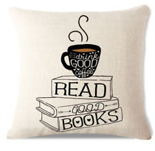 Drink Good Coffee Read Books C1 Cushion Pillow Cover Hot Coffee Stack Books