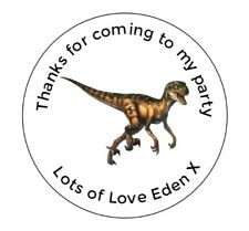 Personalised Birthday Dinosaur Stickers Labels Thank You For Coming Party Bags