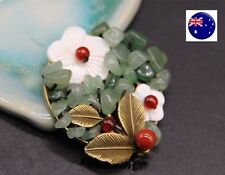 Women Leaf Gorgeous Stone Shell Vintage Look Christmas Xmas Brooch Pin Gift her