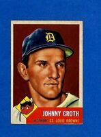 1953 Topps Baseball CARD #36 JOHNNY GROTH EX-MT ST. LOUIS BROWNS NO CREASE