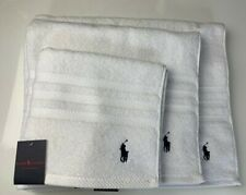 NEW RALPH LAUREN WHITE TOWELS NAVY LOGO HAND TOWEL BATH TOWEL BATH SHEET £30-£75