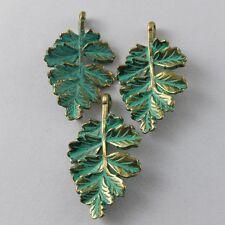 20 pcs Retro Style Zinc Alloy Copper Green Leaf Charms Necklace Pendant Findings