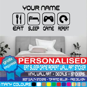Personalised Eat Sleep Game Repeat Gamer Wall Art Decals Stickers Bedroom Vinyl
