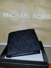 Michael Kors Men's Jet Set Logo Billfold Wallet Black With Coin Pocket