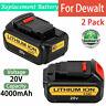 2XFor DeWalt 20V 20 Volt Max XR 4.0AH Lithium Ion Battery DCB204-2 DCB206 DCB205