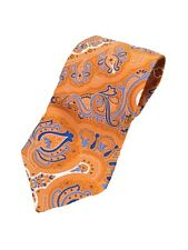 "MICHAEL Michael Kors Men's Tie Orange Blue White Paisley Print 3.25"" x 57"" Silk"