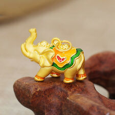Hot Sale Pure 24K Yellow Gold Pendant Woman Colorful Lucky Elephant 12*11mm/ 1g