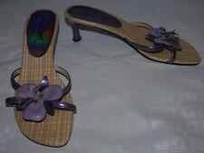 Ladies Purple Anne Michelle Shoes Size 7 Floral Detail Sandals Heels
