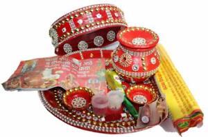 Karwa Chauth Pooja Thali Set-Thali/Channi/Kalash/Sindoor/Mehandi/Moli/Bindi/Diya