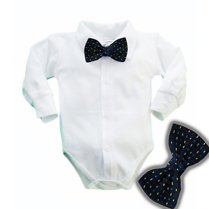 Baby Boys Bodysuit Shirt NAVY BOW TIE  Outfit  Christening Christmas Weeding