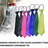 Satin Elastic Neck Tie for Children Boys School Uniform Wedding Prom Page Pretty