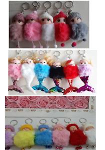 Cute Baby Girl Mermaid Key chain Doll Fur Fluffy Pom Bag car Haging Keyring