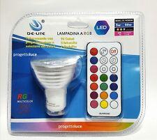 FARETTO RGB LAMPADA FARO GU10 MULTICOLORE 5W LED TELECOMANDO CROMOTERAPIA