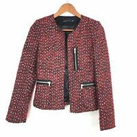 Zara Woman Red Black Boucle Tweed Boxy Zips Pockets Biker Blazer Jacket XS 6 8