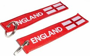 Embroidered Fabric 'ENGLAND' English Flag Double Sided Keyring / Keychain