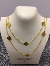 "GURHAN CHAIN 24K Yellow Gold Long Lush Flake Disk NECKLACE 39.5""-Retail $4350"