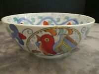 """Vintage Chinese Bowl Multi Colored Bird Blue Green Swirls Heavy 7 7/8"""" Wide"""