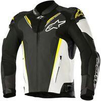 Alpinestars Atem v3 Leather Sports Motorcycle Motorbike Jacket Black White Fluo