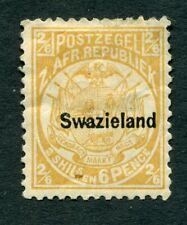 More details for swaziland 1890 2/6d overprinted transvaal stamp - buff sg7 mm / thin - dg319
