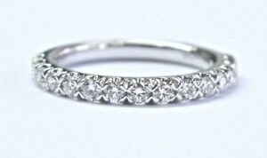 Blue Nile 18Kt Round Cut Diamond White Gold Stackable Band Ring .50Ct