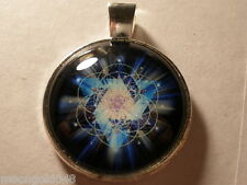 Geometry Photo Cabochon Glass Tibet Silver Chain Pendant Necklace Sacred