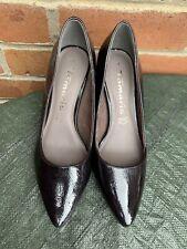 "Womens Tamaris Black shoes U.K. 4  Size EU 37 "" Cracked"" Leather Heel Shoes"