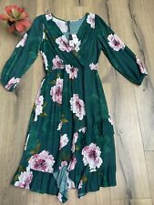 NEW Anthropologie Plenty Tracy Reese M Aleah Dress Green Pink Floral Faux Wrap