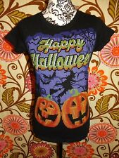 WOMENS HAPPY HALLOWEEN PUMPKIN WITCH BLACK BLOUSE SHIRT SIZE SMALL 4 - 6 HOLIDAY