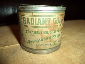Antique GILDING Gilt Paint Can Tin+Conts Radiant Gold Hirshberg Baltimore C1920s