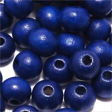 Lot de 100 perles rondes en Bois 8mm Bleu Outremer
