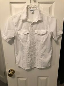 Old Navy Boys White Button Down Shirt Size Medium