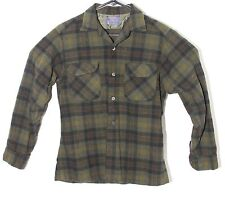 Vnt 1960s Pendleton Board Shirt Loop Collar Flap Pocket Green Black Plaid MEDIUM