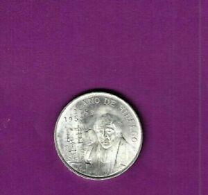 1953 MEXICAN HILDALGO BIRTHDAY BICENTENIAL CINCO OESOS SILVER COIN MEXICO UNC.