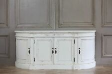 French Country Style Carved Buffet Distressed White Large Sideboard Cabinet