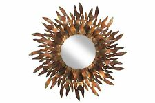 Espejo de pared de metal 'Abstracto sol espejo marrón'   Hecha a mano  ...