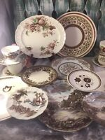 4 Place Sets Vintage Mismatched China Ironstone Brown Transferware #20