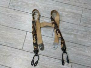 vintage CAMOUFLAGE hunting SUSPENDERS braces ONE SIZE green/brown WOODLAND