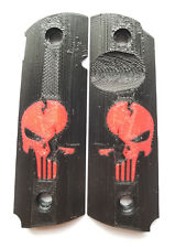 OTA Full Size 1911 Grips Worn Punisher Black and Red