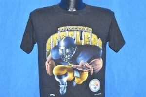 vintage 90s PITTSBURGH STEELERS TACKLE GOLD BLACK t-shirt FOOTBALL MEDIUM M