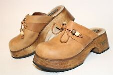 Candie's Vintage 90's Womens 8 M Leather Wooden Platform Mule Heeled Clogs Shoes