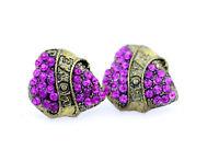Stile vintage oro e rosa orecchini con cristalli a cuore