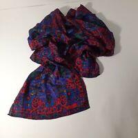 Liz Claiborne Womens Silk Scarf 53 Inch Red Floral Wrap Neck Tie Colorful