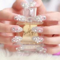 3D Bride Wedding False Artificial Fake Nails Tips French White Stud Finger MZL