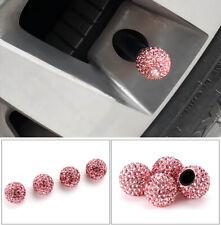 4X Pink Rhinestone Car Tire Valve Caps Diamond Shining Air Caps Auto Accessories