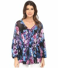 Adrianna Papell Floral Print Chiffon Blouse  Size 14