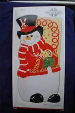 Fitz & Floyd Sugar Coated Christmas Snowman Elongated Ceramic Tray Nib Hp