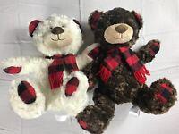 "Lot Of 2 Plush Bears Animal Adventure Teddy 15"" Stuffed Plaid Checks Scarf Smile"