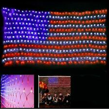 Waterproof American Flag Net Lights 420 Bright LEDs 4th of July Outdoor Decor