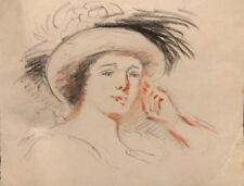 Portrait de femme au chapeau anonyme début XXe fauve fauvisme