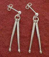 Sterling Silver Drumstick stud Earrings Solid 925 Drum Sticks dangle drumsticks